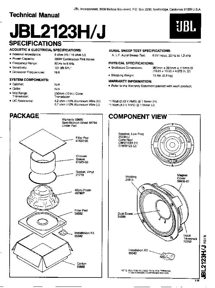 JBL 2123H J SPEAKER SM Service Manual download, schematics