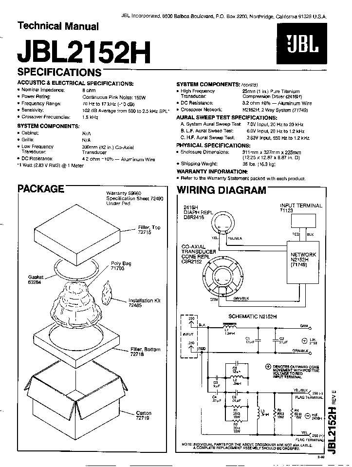 JBL S1C-2S SPEAKER-SYNTHESIS SM Service Manual free