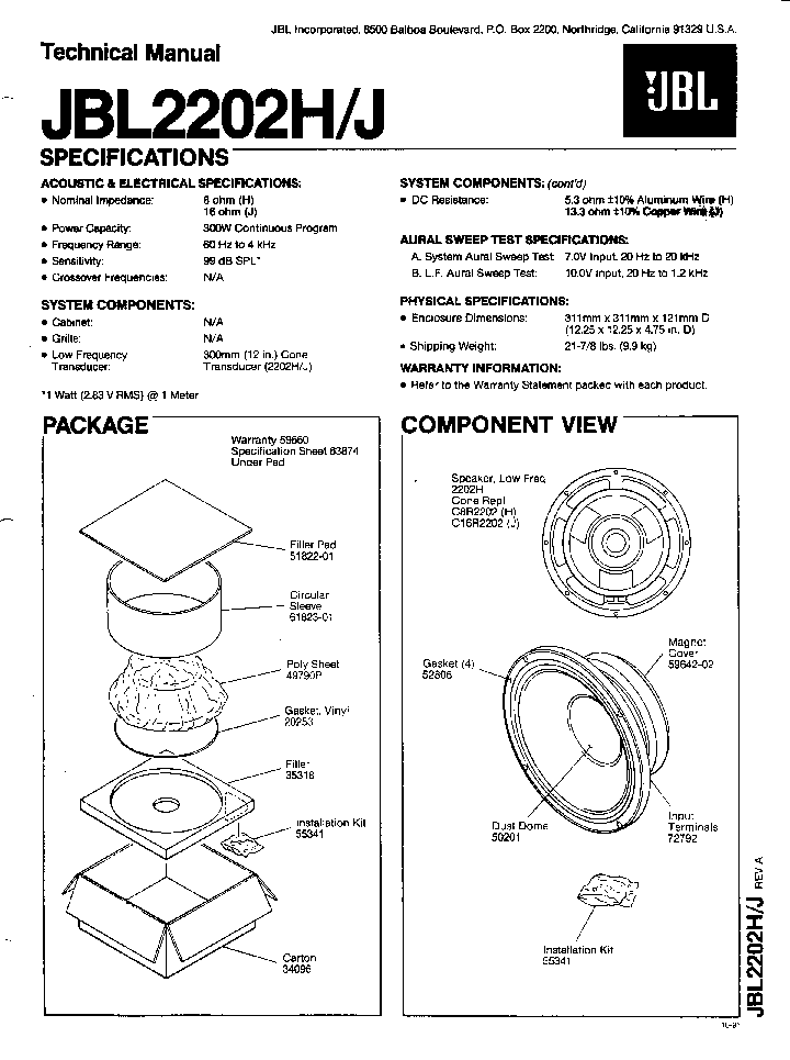 JBL 2202H J SPEAKER SM Service Manual download, schematics