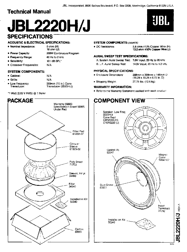 JBL 2220H J SPEAKER SM Service Manual download, schematics