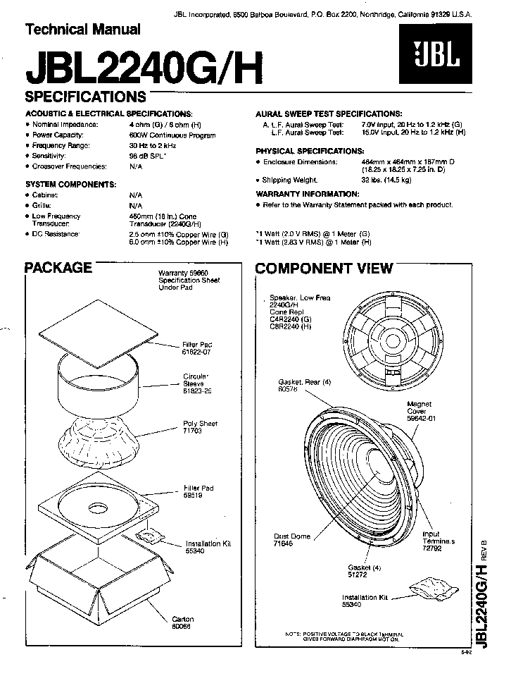 JBL 2240G H SPEAKER SM Service Manual download, schematics