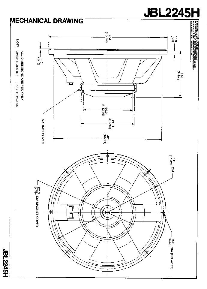 JBL 2245H SPEAKER SM Service Manual download, schematics