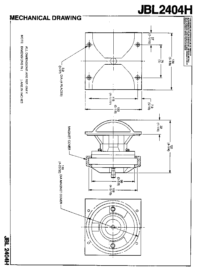 JBL 2404H SPEAKER SM Service Manual download, schematics