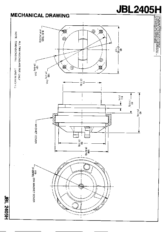 JBL 2405H SPEAKER SM Service Manual download, schematics