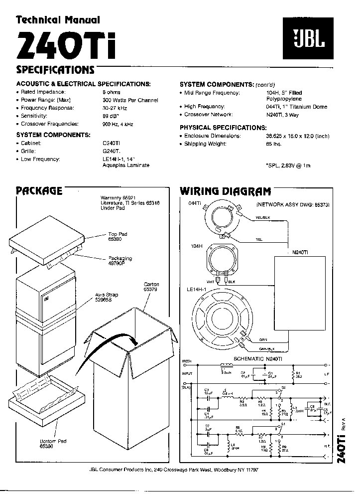JBL 240TI SM Service Manual download, schematics, eeprom