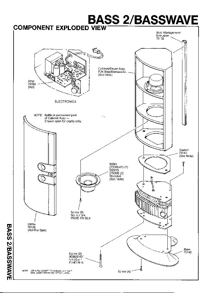JBL BASS-2 100W BASSWAVE SPEAKER SYSTEM SM Service Manual