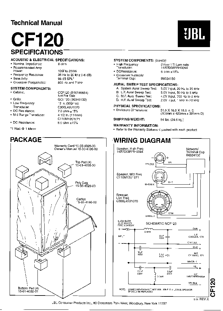 JBL S2S SPEAKER-SYNTHESIS SM Service Manual download