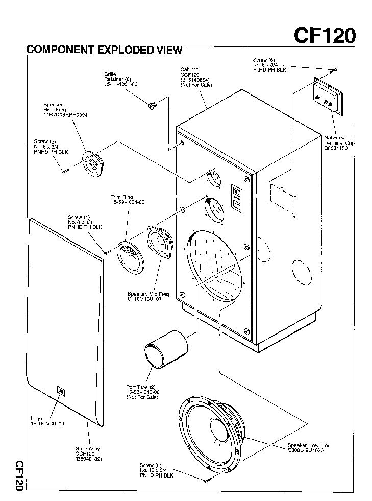 JBL CF-120 250W SPEAKER SYSTEM 1995 SM Service Manual