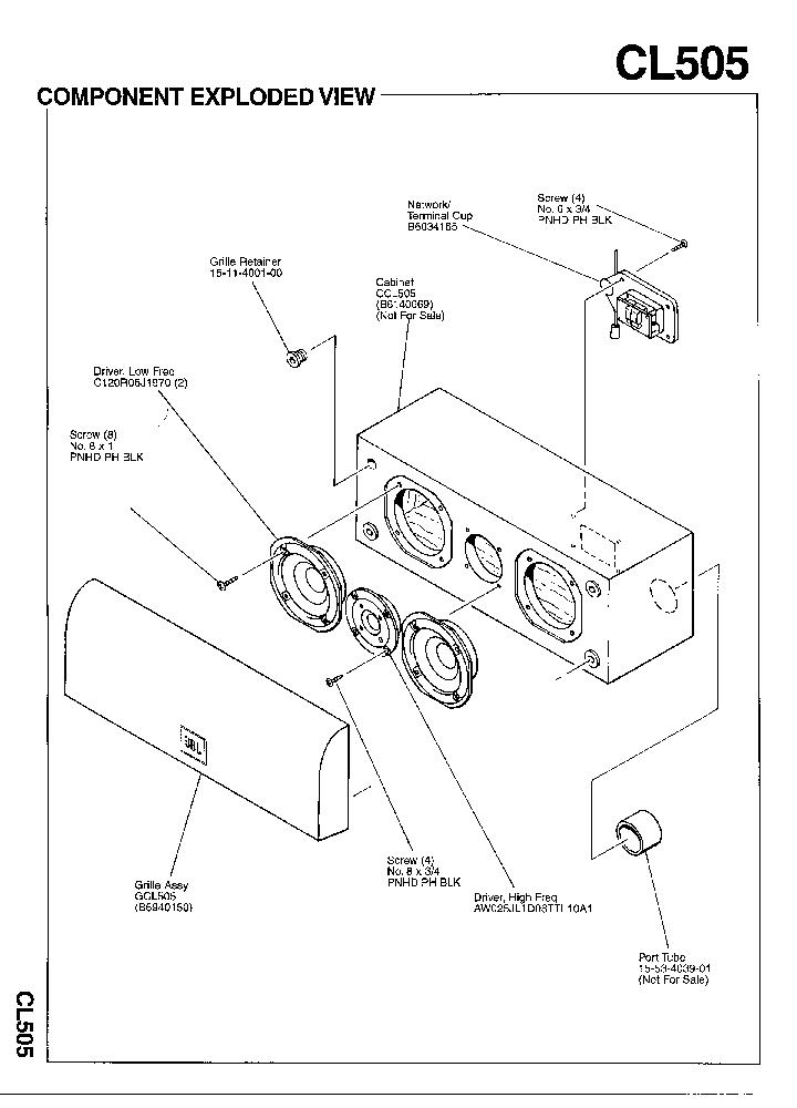 JBL CL-505 125W SPEAKER SYSTEM SM Service Manual download