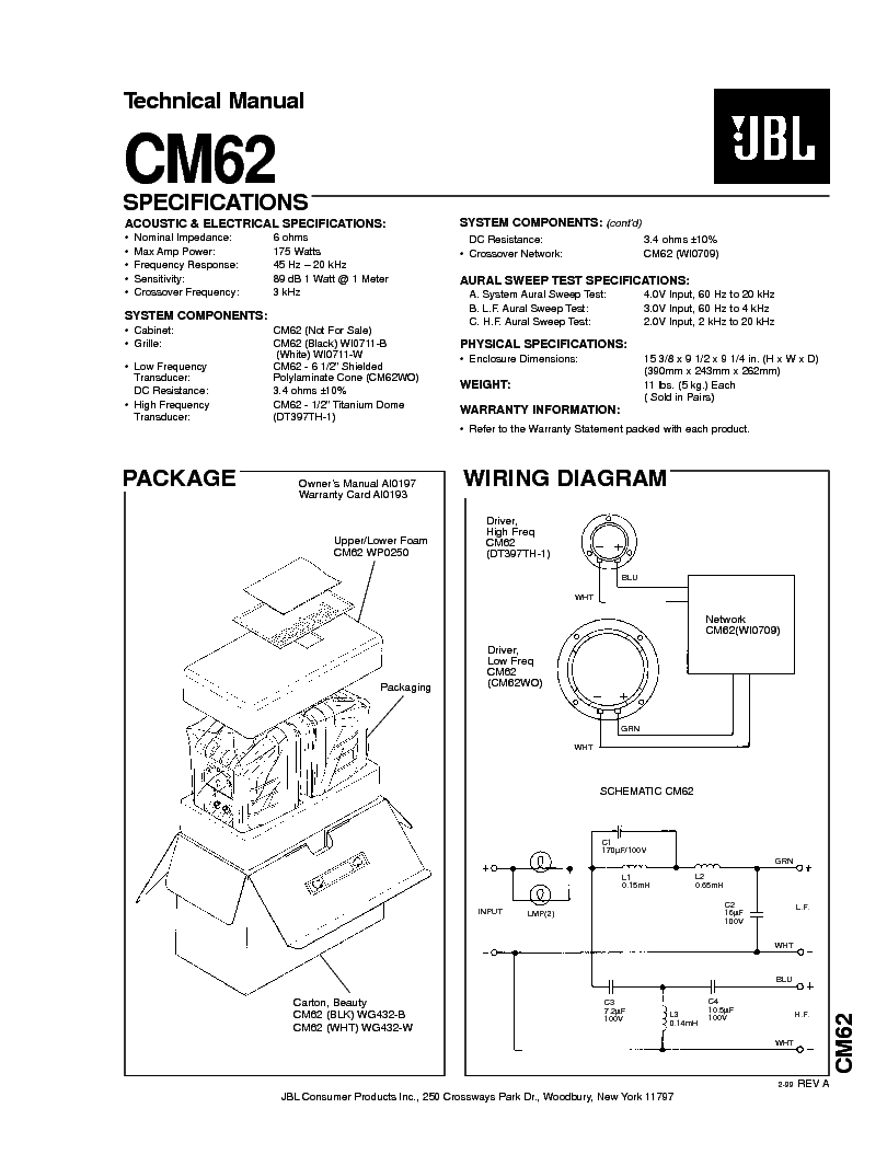 JBL CM-62 175W SPEAKER SYSTEM SM Service Manual download