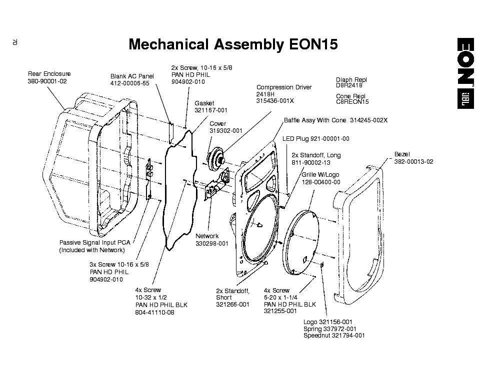 JBL EON15 EXPLODED VIEW Service Manual download