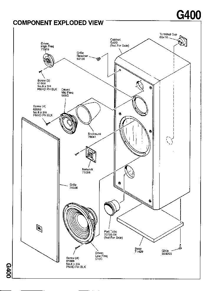 JBL G-400 150W SPEAKER-SYSTEM SM Service Manual download