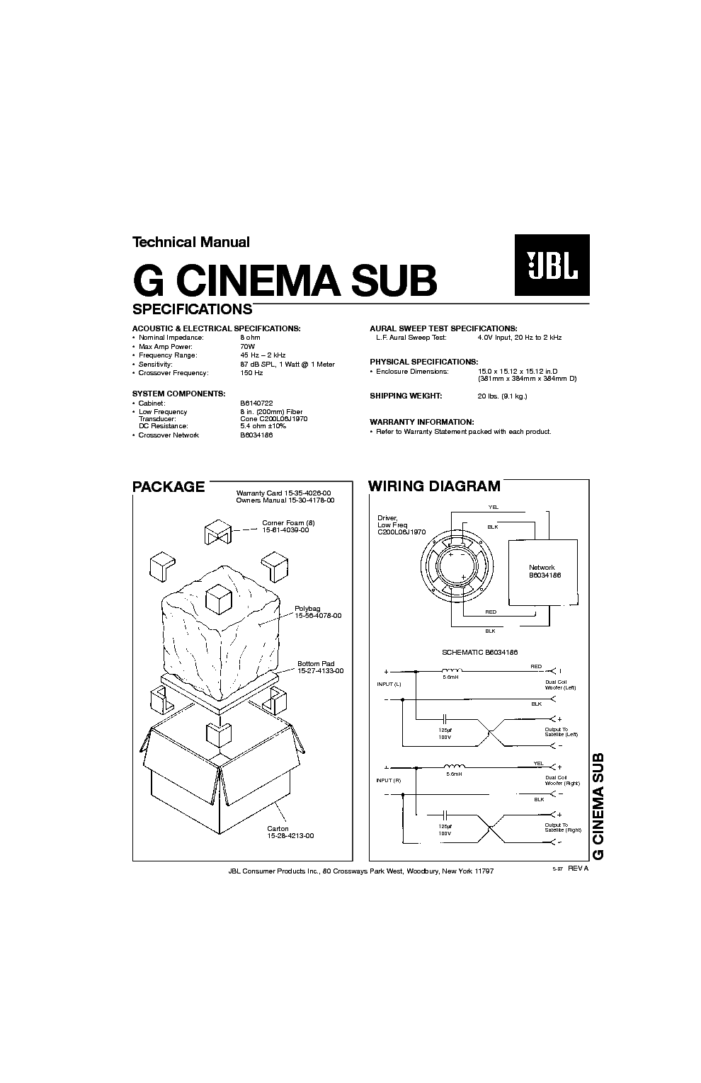 JBL G CINEMA SUB 70W SPEAKER SYSTEM SM Service Manual