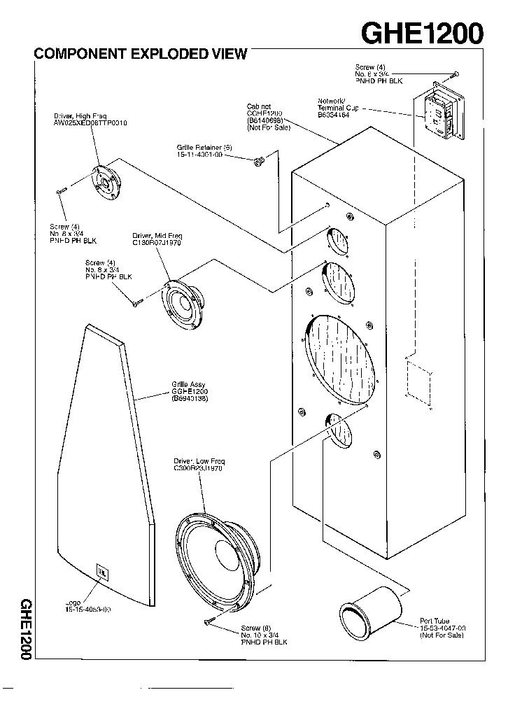 JBL GHE-1200 250W SPEAKER SYSTEM SM Service Manual