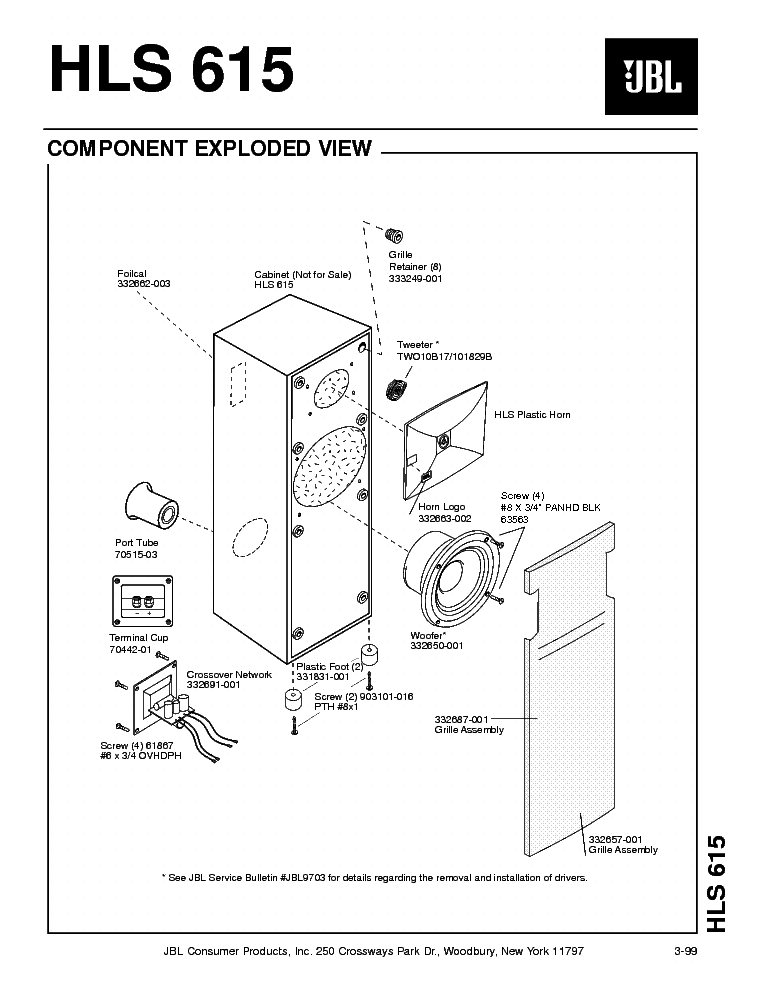 JBL HLS-615 150W SPEAKER SYSTEM SM Service Manual download