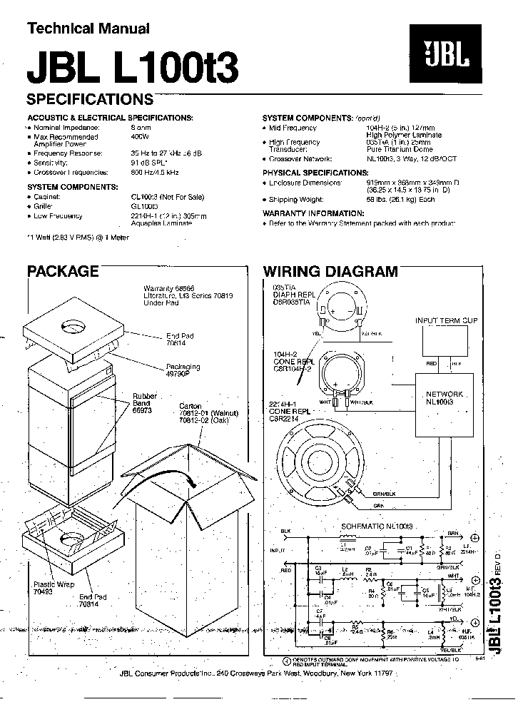 JBL SCS-10 230 SCS20 230 SATELLITE 2002 SM Service Manual
