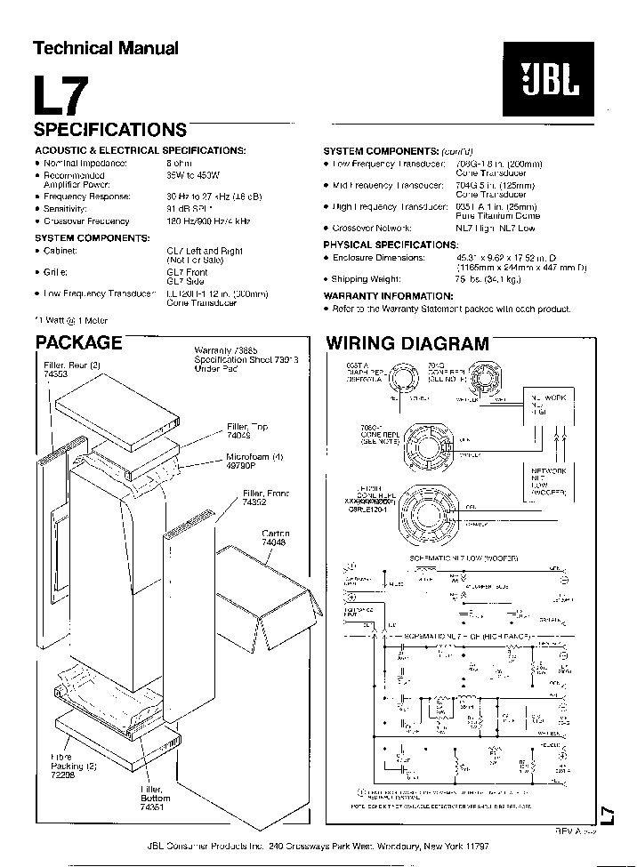 JBL L8400P SM Service Manual free download, schematics