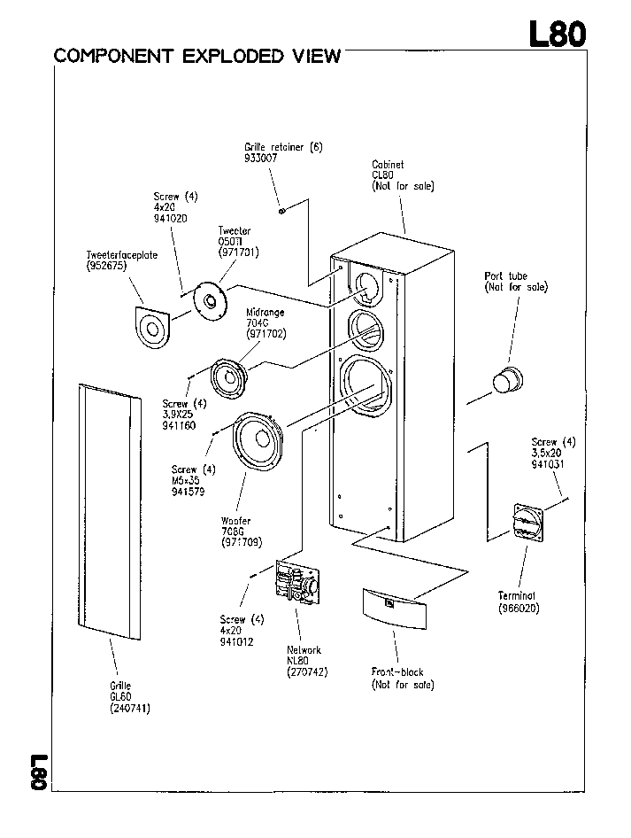 JBL L-80 MK2 250W SPEAKER SYSTEM SM Service Manual