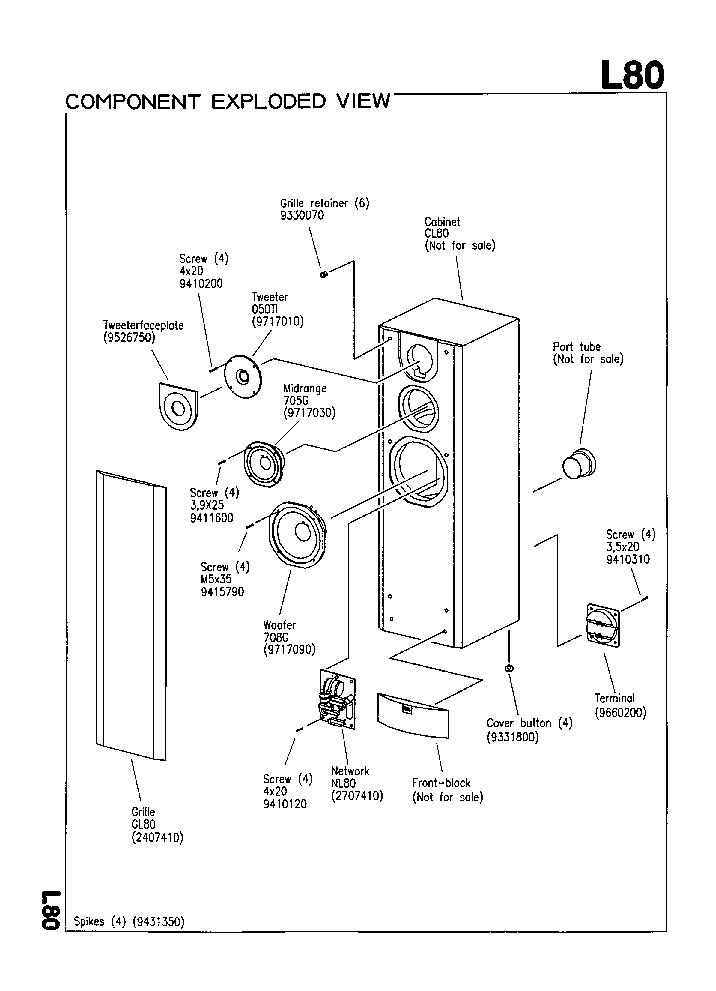 JBL L-80 MK4 250W SPEAKER SYSTEM SM Service Manual