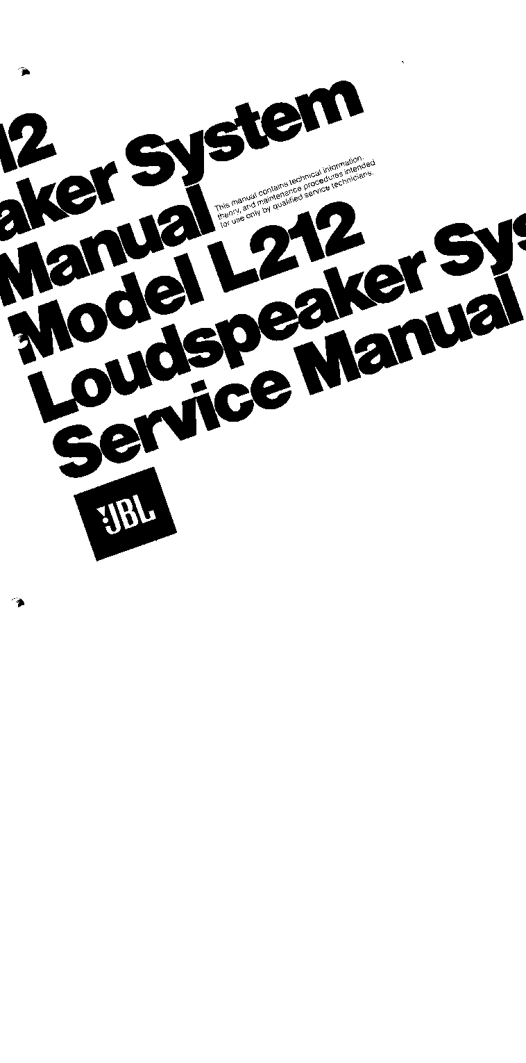 JBL L212 ACTIVE SUBWOOFER Service Manual download