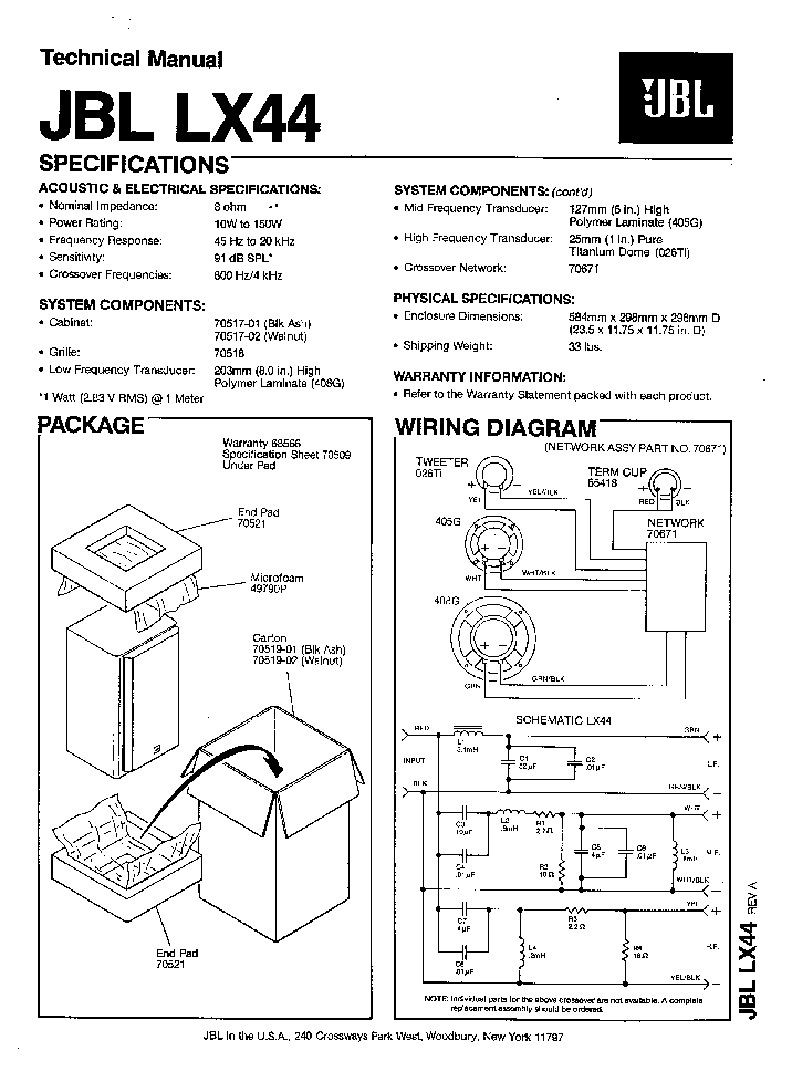 JBL LX-44 150W SPEAKER SYSTEM SM Service Manual download