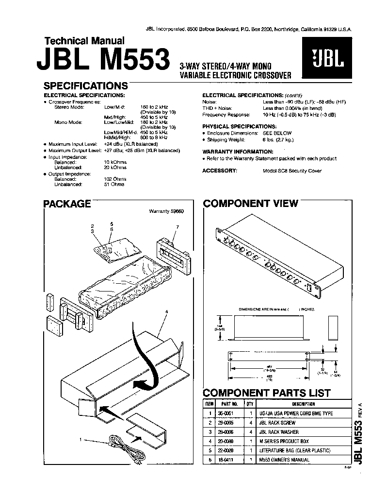 JBL M553 Service Manual download, schematics, eeprom