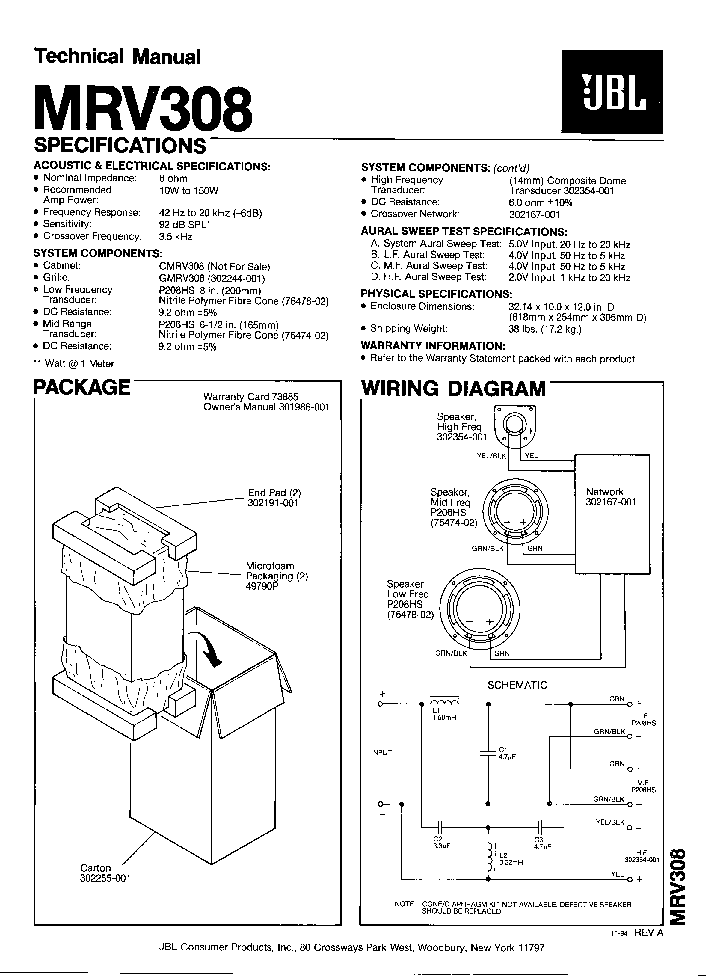 JBL 120TI SM Service Manual download, schematics, eeprom