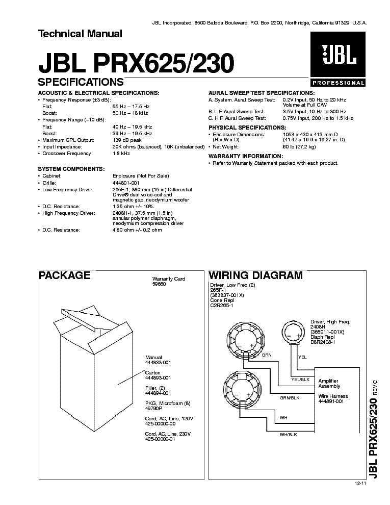 JBL PRX625 PRX230 TECHNICAL MANUAL Service Manual download