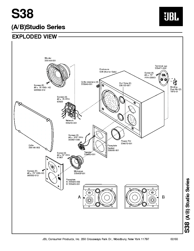 JBL S-38 175W SPEAKER SYSTEM SM Service Manual download
