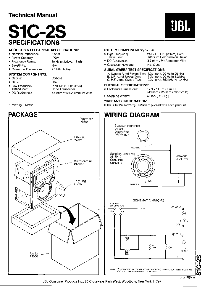 JBL S1C-2S SPEAKER-SYNTHESIS SM Service Manual download
