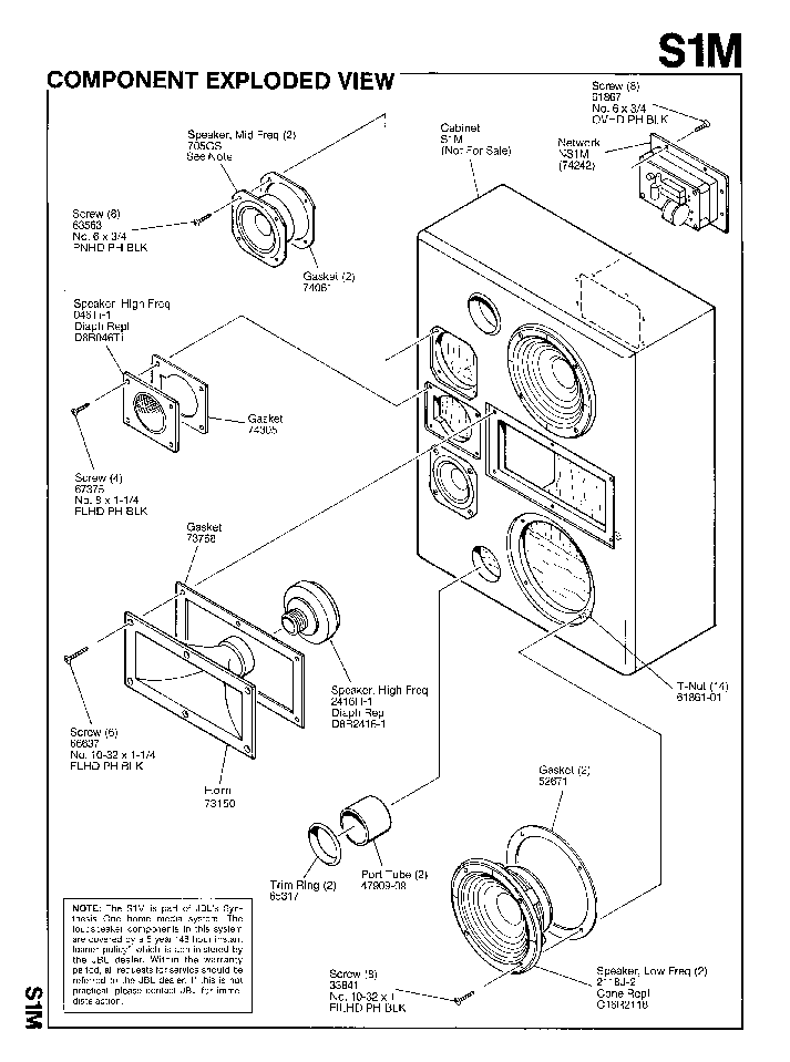 JBL S1M SPEAKER-SYNTHESIS SM Service Manual download