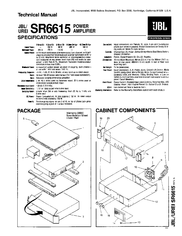 JBL EON518S-230 EXPLODED-VIEW Service Manual free download