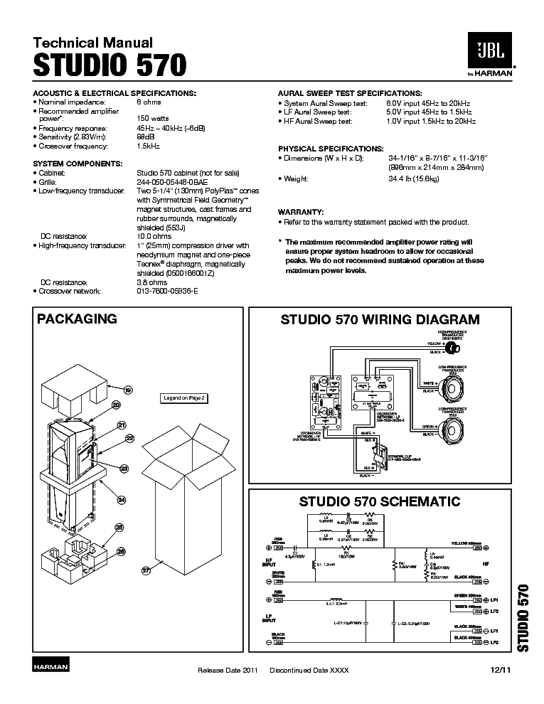 JBL STUDIO 570 SM Service Manual download, schematics