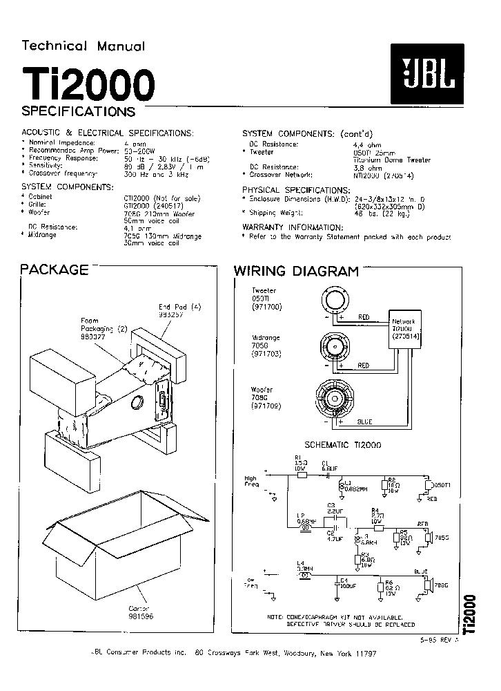 JBL TI2000 SM Service Manual download, schematics, eeprom