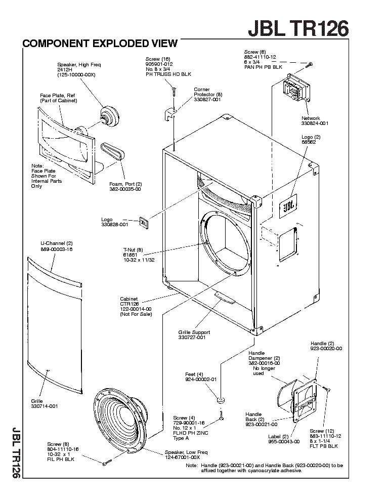 JBL TR126 SM Service Manual download, schematics, eeprom