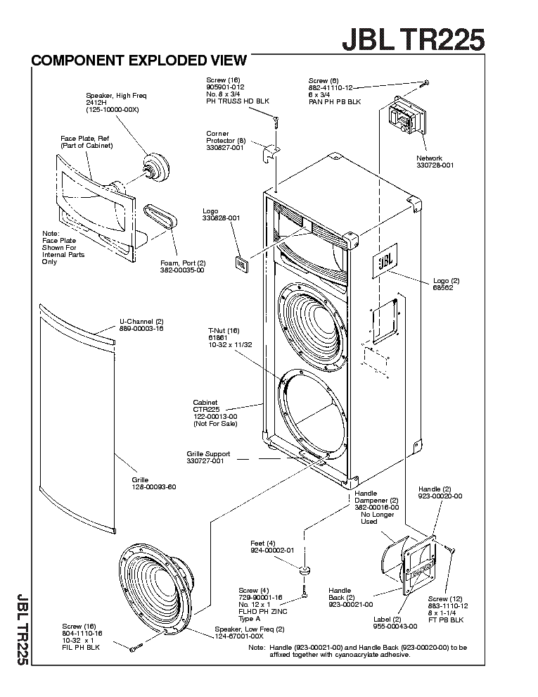 JBL TR225 SM Service Manual download, schematics, eeprom