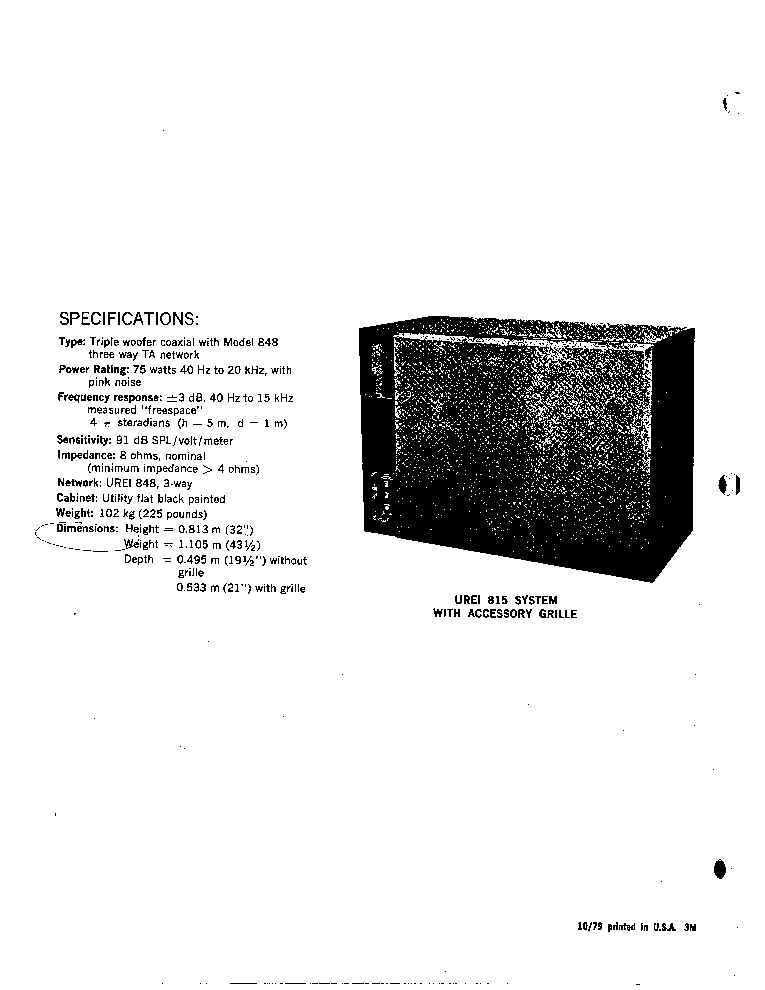 JBL UREI 815 Service Manual download, schematics, eeprom