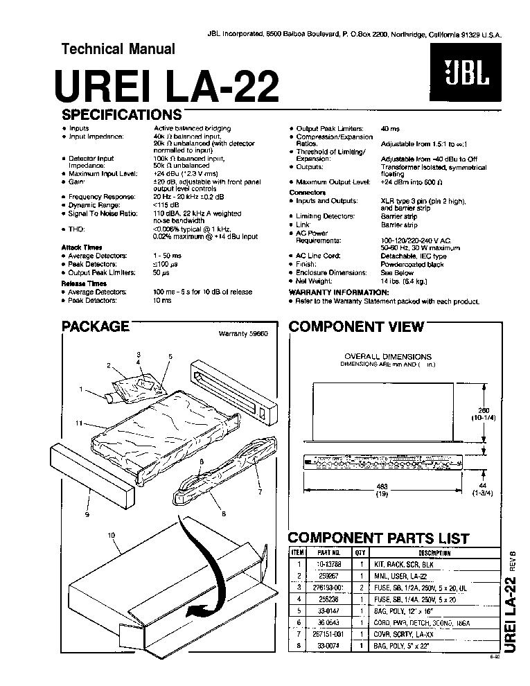 JBL 2426H J SPEAKER SM Service Manual download, schematics