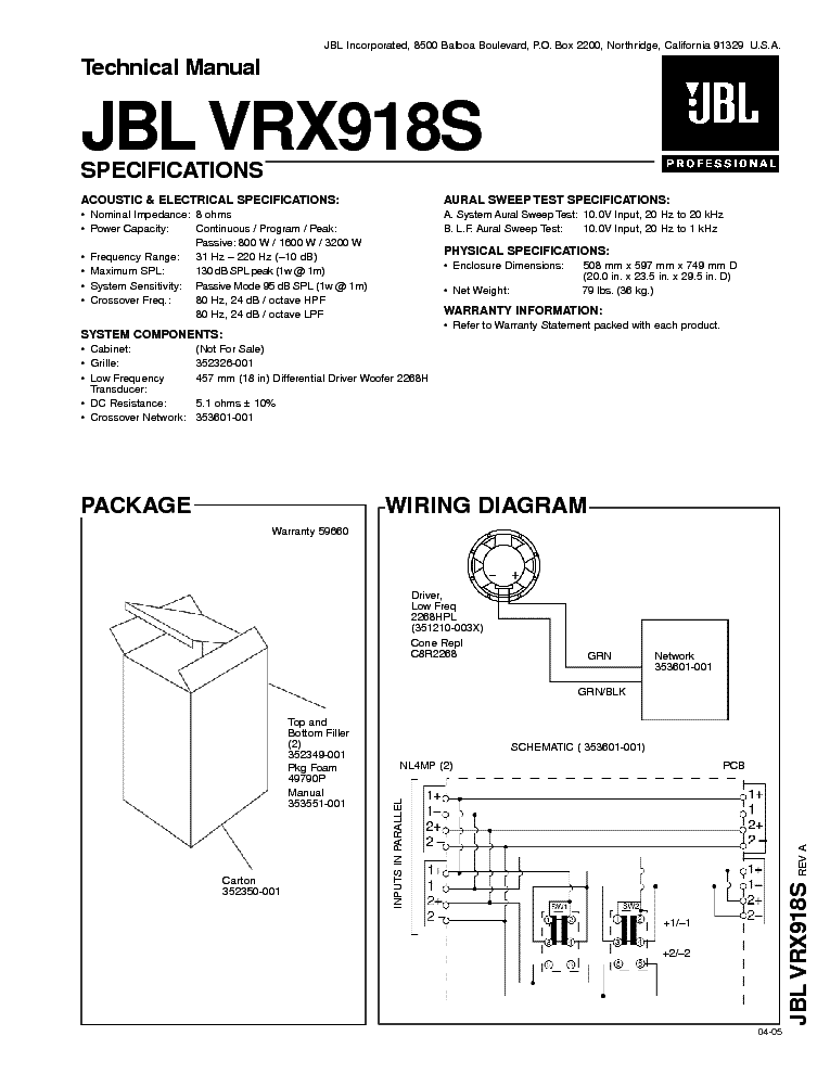 JBL CF-80 100W SPEAKER SYSTEM SM Service Manual free
