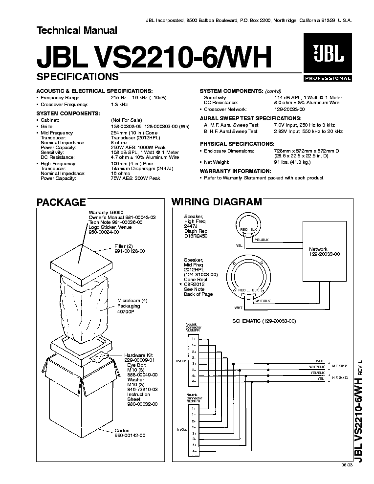 JBL G-730 200 400 W SPEAKER SYSTEM SM Service Manual free
