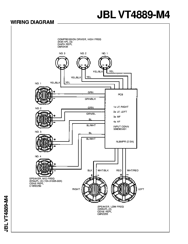 JBL VT4889-M4 Service Manual download, schematics, eeprom