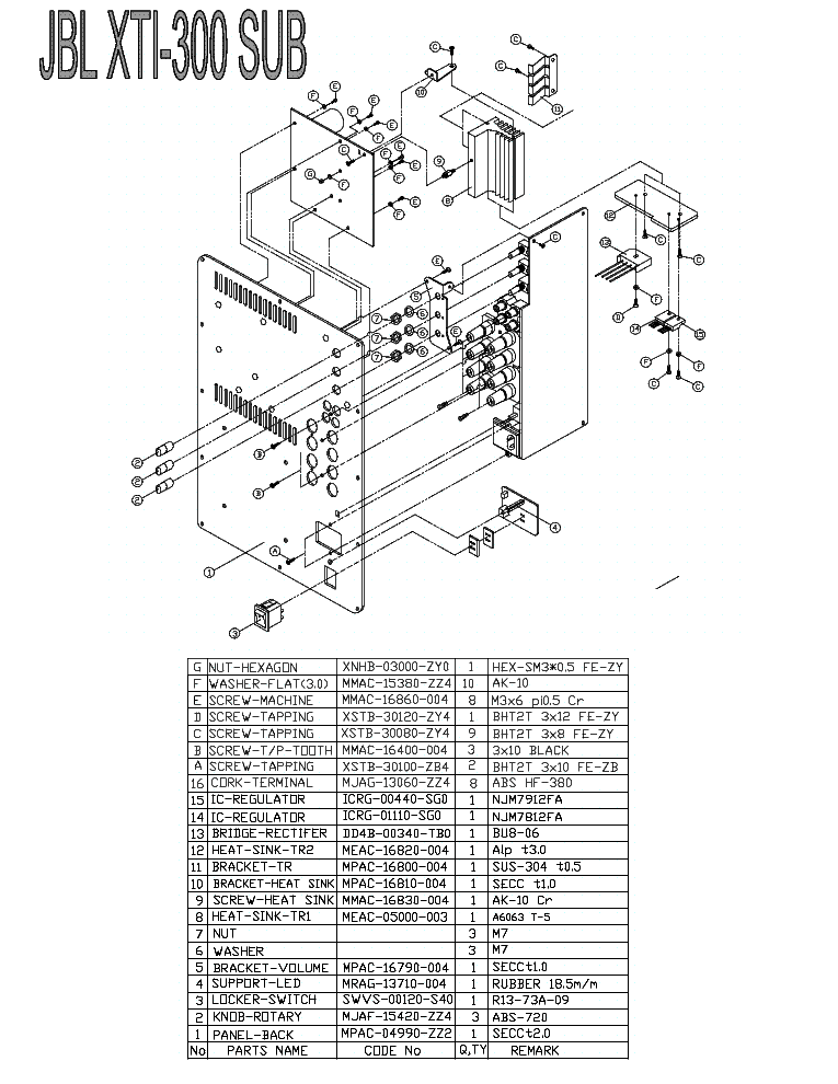 JBL XTI-300 Service Manual download, schematics, eeprom