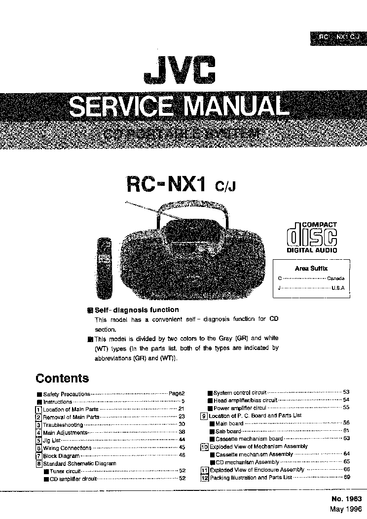 JVC 1963 RC-NX1 Service Manual download, schematics