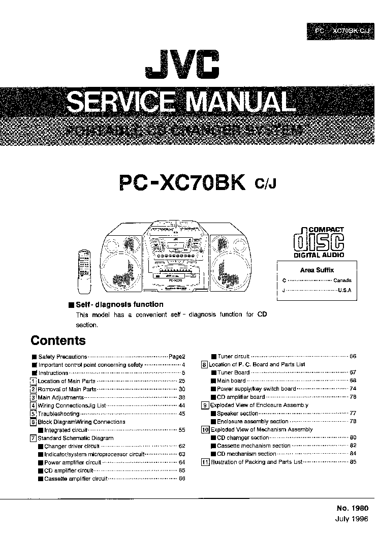 JVC 1980 PC-XC70BK Service Manual download, schematics