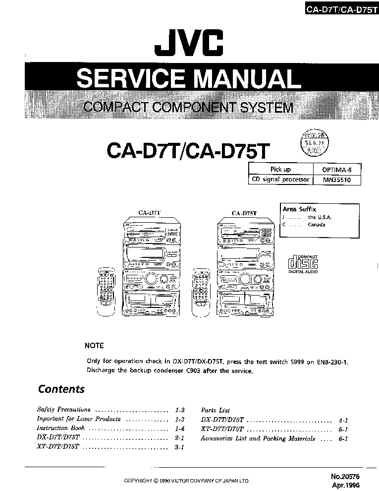 JVC FX-1100BK SM Service Manual download, schematics