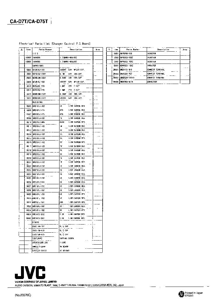 JVC 20576 CA-D7T CA-D75T SUPPLEMENT Service Manual