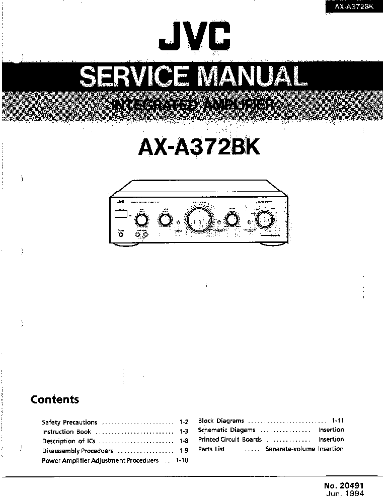 JVC AX-A372BK Service Manual download, schematics, eeprom