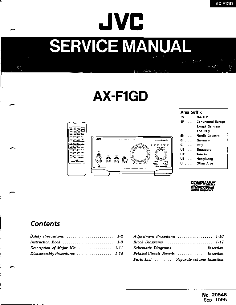 JVC AX-F1GD REMOTE CONTROL INTEGRATED AMPLIFIER Service