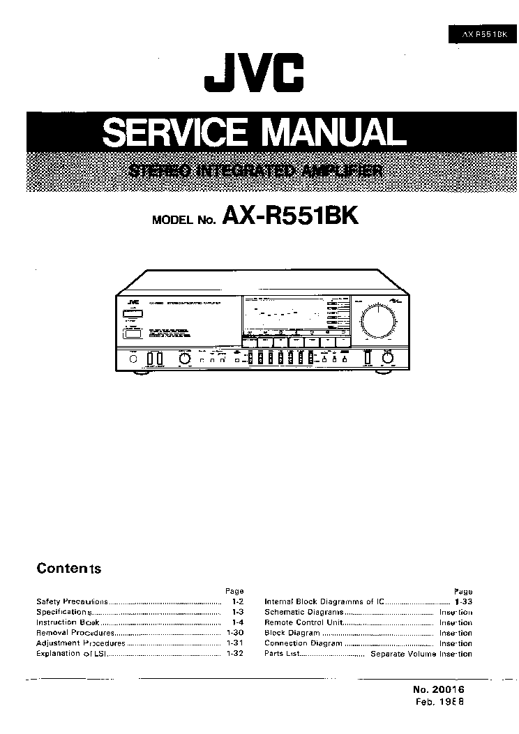 JVC AX-R551BK Service Manual download, schematics, eeprom