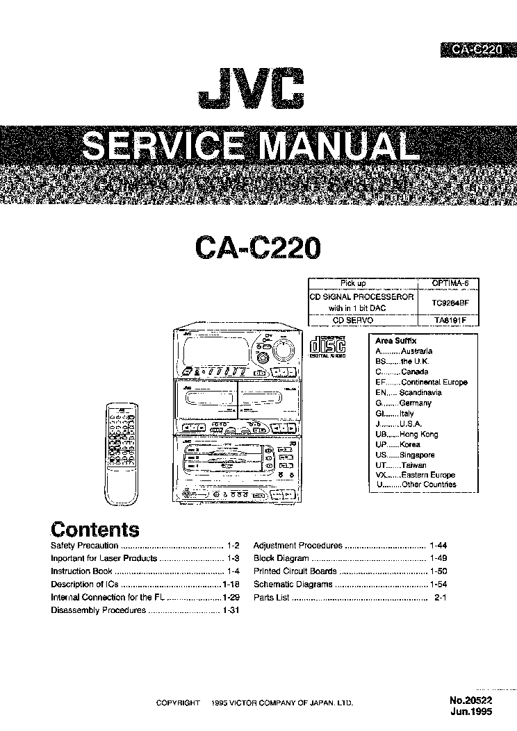 JVC CA-C220 Service Manual download, schematics, eeprom
